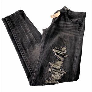 Roxy Distressed Faded Black Super Skinny Jeans
